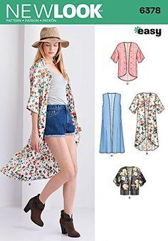 New Look Ladies Easy Sewing Pattern 6378 Kimono Drape Jacket Tops