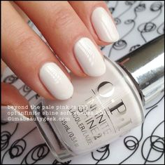 """OPI """"Beyond the Pale Pink"""" – from its Infinite Shine Soft Shades collection Beautiful, light, off-white with pink tint. White Nail Art, White Nail Polish, Opi Nail Polish, Opi Nails, Nail Polish Colors, White Nails, Stiletto Nails, White Nail Designs, Short Nail Designs"""