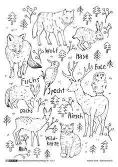 Ausmalbild oder Abpausen für Kinder - Natur Waldtiere  *** Wood Animals Coloring Page for kids