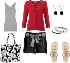 """Red, Gray and Black"" by bluehydrangea on Polyvore"