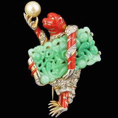Trifari 'Alfred Philippe' Ming Monkey With Jade Parcel and Pearl Pin Clip