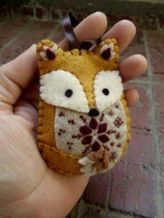 GOOD FOX SHAPE - COULD HAVE DIECUT DECORATION - Felt Fox Ornament