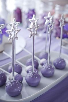 Star topped purple cake pops at a Sofia the First birthday party! See more party… Sophia The First Birthday Party Ideas, Lila Party, First Birthday Parties, Third Birthday, Baby Birthday, Birthday Party Themes, First Birthdays, Sofia The First Cake, Birthday Ideas