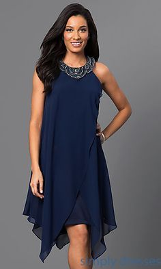 Sleeveless Navy-Blue Short Handkerchief Dress Shop handkerchief party dresses and blue homecoming dresses at Simply Dresses. Navy-blue wedding-guest dresses and chiffon cocktail dresses. Blue Homecoming Dresses, Blue Dresses, Mini Dresses, Blue Wedding Guest Dresses, Dress Wedding, Semi Formal Dresses For Wedding, Mauve Wedding, Wedding Book, Wedding Outfits