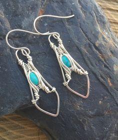 Turquoise Earrings Wire Wrap Earrings от SweetWaterSilver на Etsy