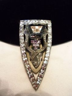ART-DECO-Vintage-1930s-Diamante-Square-Cut-Rhinestone-Dress-Clip-Silver-Tone  Purchase from http://stores.ebay.com/theglitterbug