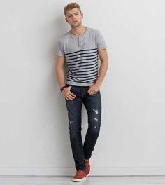 Skinny Core Flex Jean, Dark Destroy | American Eagle Outfitters