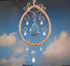 "Crystal, Copper Sculpture, Mobile, Rose Quartz, Home Decor, New Age Decor, Window Hanging, Ornament, Metaphysical, Garden Art, ""Moon Drop"""