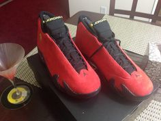 Air Jordan 14 FERRARI / CHALLENGE RED - Size 9 -- #Nike #BasketballShoes Nike.com: Inspired by a love of cars, this Air Jordan 14 Retro takes on the luxurious design and sleek lines of an iconic sports car. A one-piece soft suede upper is eye-catching in a deep Challenge Red, while the midsole features a carbon fiber graphic. Vibrant Yellow accents on the shield logo and back heel piece inspires speed on the court. COLORWAY: Challenge Red/Vibrant Yellow-Anthracite-Black 654459-670