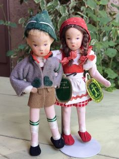 "Vintage German Erna Meyer Ermey Cloth Stockinette 5"" Dollhouse Boy & Girl Pair #ErnaMeyerErmey"