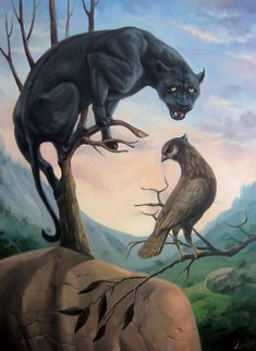Buy Black panther oil painting, surrealistic artwork, Oil painting by Artush Voskanyan on Artfinder. Discover thousands of other original paintings, prints, sculptures and photography from independent artists. Illusion Kunst, Illusion Art, Black Panthers, Optical Illusion Paintings, Optical Illusions, Illusions Mind, Funny Illusions, Indian Art Paintings, Original Paintings