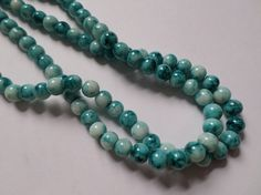 50 x Mottled Effect Glass Beads - Round - 8mm - Blue