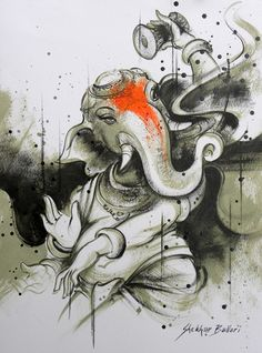 MyIndianArt is one of the best place to buy exclusive Indian Art, sculpture, traditional art, etc. Ganesha Drawing, Lord Ganesha Paintings, Ganesha Sketch, Ganesha Tattoo Lotus, Lotus Tattoo, Tattoo Ink, Yogi Tattoo, Arte Ganesha, Indian Art Paintings