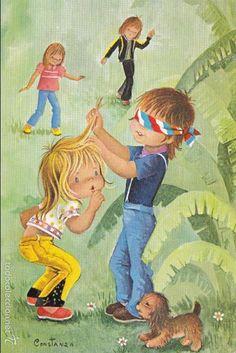 CONSTANZA ILUSTRADOR/A Nº 7756-C JUGANDO A LA GALLINITA CIEGA ED. C.Y.Z ESCRITA D. LEGAL 1977 (Postales - Dibujos y Caricaturas)