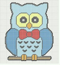 BLUE OWL WITH RED BOW WALL HANGING by KATHY Plastic Canvas Crafts, Plastic Canvas Patterns, Owl Crafts, Paper Crafts, Owl Ornament, Owl Patterns, Wall Hangings, Needlepoint, Projects To Try