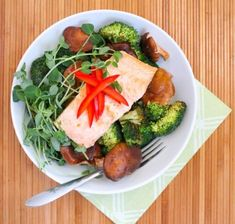 Shiitake Mushroom and Broccoli Stir Fry with Ginger Poached Salmon by Eat Spin Run Repeat