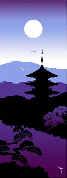 Japanese Tenugui Towel Cotton Fabric, Kyoto, Full Moon, Twilight, Temple Pagoda…