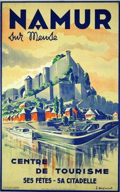 Vintage Travel Poster  - Namur Sur Meuse  -  Sa Citadelle - Belgique/Belgium. (1947,  J Dogimont).