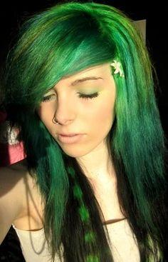 Green Lovely hair