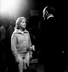 "Debbie Reynolds and Fred Astaire on the set of ""The Pleasure of His Company,"" Paramount 1960. He was a great encouragement to Debbie."