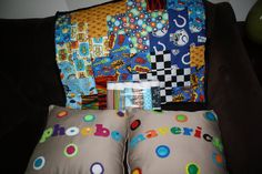 Personalized pillows, burp cloths, and a blankie