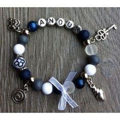 Sieraden,blauw grijs witte kinder armband met naam