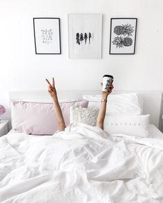 Instagram photo ideas | instagram inspiration | White minimalism interior bedroom / Coffee fe & Peace!