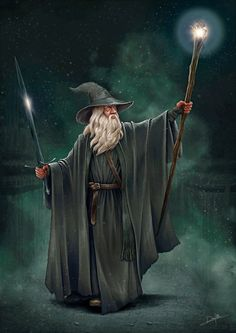 "The scene from the book ""The Hobbit"" where Gandalf and Bilbo are returning the Lonely Mountain to the Shire. Hobbit Art, O Hobbit, High Fantasy, Fantasy Art, Fantasy Wizard, Arte Nerd, Jrr Tolkien, Legolas, Deviant Art"