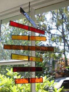 Stained Glass Spiraling Mobile by lostandfoundportland on Etsy