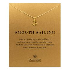Dogeared Smooth Sailing Anchor Heart Necklace, Gold Dipped