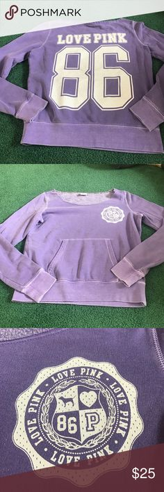 Victoria Secret PINK Crew Neck Sweatshirt Beautiful vibrant purple Victoria Secret Crew Neck. Features emblem on front in white and LOVE PINK 86 on back in varsity white lettering. Color is great on this piece. Perfect for spring. PINK Victoria's Secret Tops Sweatshirts & Hoodies