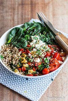 Assiette Complète: Sarrasin / Fêta / Légumes Grillés / Épinards - Food for Love