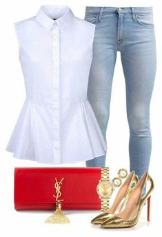 White collar with 7 For All Mankind, McQ by Alexander McQueen, Yves Saint Laurent, Chanel, Movado and Christian Louboutin Style Outfits, Mode Outfits, Classy Outfits, Casual Outfits, Fashion Outfits, Womens Fashion, Fashion Trends, Mode Chic, Mode Style