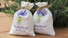4 Wedding Favor Bags Lavender  100%  Linen Bags   от BoutiqueDaf