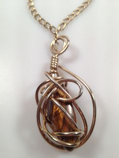 Vintage TIGER EYE Wire Wrapped Pendant by thepopularjewelry, $32.00
