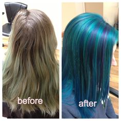 Turquoise hair. Before and after. Purple highlights. Goldwell Elumen color.