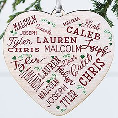 Buy personalized heart ornaments with our Close to Her Heart design and add up to 21 names and optional message on the back. Great family ornament for big families. Family Ornament, Heart Ornament, Personalized Garden Stones, Word Art Design, Small Blankets, Different Stitches, Great Gifts For Mom, Personalised Blankets, Personalized Ornaments