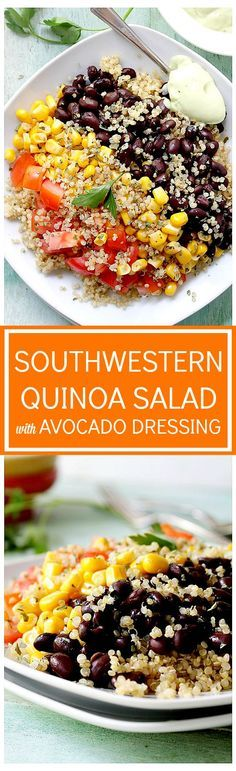 Southwestern Quinoa Salad highlights the best flavors of summer – a mix of black beans, corn, and tomatoes atop a bed of quinoa, all tossed in a Homemade Creamy Avocado Dressing. Healthy and delicious!