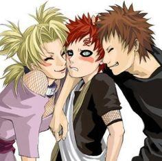 Temari and Kankuro loving on Gaara. This is so cute. :3