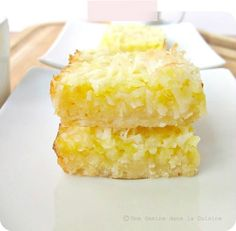 Lemon Coconut Bars 1 1/2 cups of all-purpose flour 1/2 cup of confectioners' sugar 3/4 cup (that's 1 1/2 sticks) of cold unsalted butter, cut into cubes 4 eggs, at room temperature 1/4 teaspoon of salt 1 1/2 of cups sugar 1/2 cup of lemon juice (if you're want to keep things fresh, that's about 4-6 lemons) 1 teaspoon of baking Powder 1 cup of flaked coconut (sweetened, or unsweetened)