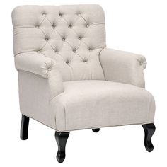 Showcasing a birch wood frame and button-tufted upholstery, this beige arm chair brings chic style to your living room or parlor.   Prod...