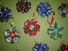 Bottle Cap Ornaments! Fun way to decorate a X-Mas tree for a bachelor pad!!!