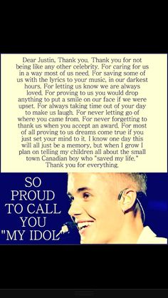 Dear Justin, thank you for everything. Rally proud to call u my idol! Love u soon much♥♡ Justin Bieber Quotes, Justin Bieber Facts, I Love Justin Bieber, Babe, I Love Him, My Love, Future Husband, Future Boyfriend, My Everything