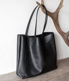 c03c390809fb Large Black Leather Tote Genuine Leather Bag Black Leather
