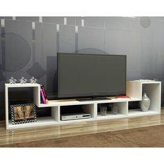 Details about convertible tv stand bookcase storage unit modern wood shelf contemporary decor Tv Stand Console, Diy Tv Stand, Simple Living Room Decor, Living Room Tv, Tv Furniture, Furniture Deals, Simple Tv, Rack Tv, Tv Wall Decor