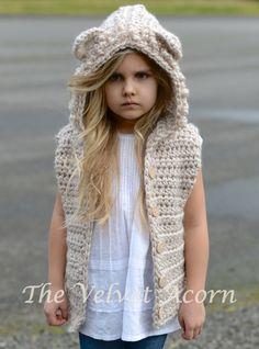 Lanstyn Lion Hooded Vest Crochet pattern by The Velvet Acorn Crochet Hood, Crochet Vest Pattern, Knit Crochet, Knitting Patterns, Crochet Patterns, Crochet Girls, Crochet For Kids, Crochet Baby, Velvet Acorn