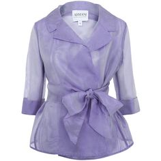 Armani Collezioni Lilac Organza Silk Tie Jacket (768,510 KRW) ❤ liked on Polyvore featuring outerwear, jackets, tops, coats, blazers, purple blazer jacket, lilac blazer, three quarter sleeve blazer, organza jacket and 3/4 sleeve blazer