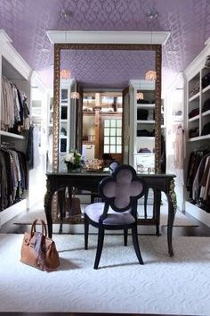 Chic purple closet design with purple walls paint color, textured purple ceiling, black vintage vanity desk, black Suzanne Kasler Quatrefoil Chair with purple upholstery and shoe racks. House Design, Room, Interior, Home, Dream Closets, Closet Vanity, Closet Designs, Interior Design, Wallpaper Ceiling