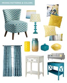 Living room Tips for Mixing Different Patterns & Colors in Your Home, turquoise chevron, Target Threshold lamps, yellow geometric, turquoise sofa table from Target New Living Room, My New Room, Apartment Living, Home And Living, Teal Living Rooms, Kitchen Living, Small Living, Deco Turquoise, Turquoise Sofa