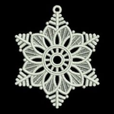 Prepare ahead for the Christmas season with these beautiful free standing lace decorations. Snowflake Embroidery, Crochet Snowflakes, Freestanding Lace Embroidery, Machine Embroidery Patterns, Embroidery Ideas, Lace Decor, Blue Quilts, Custom Embroidery, Applique Designs